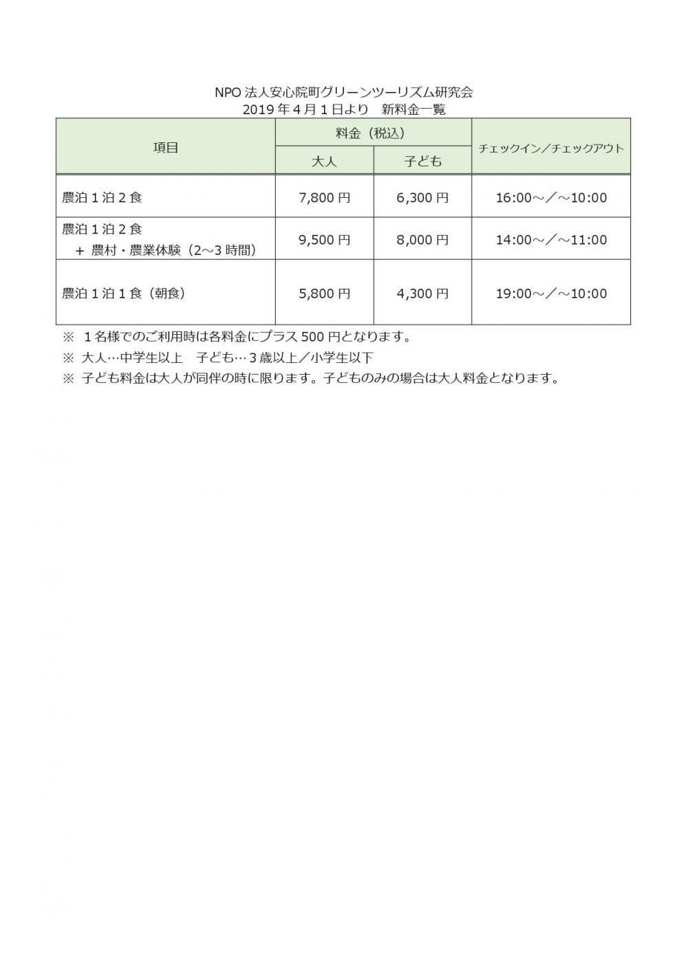 農泊料金改定(2)