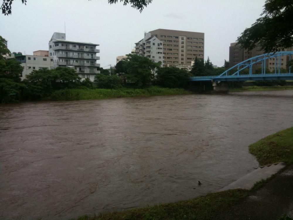 白川の増水