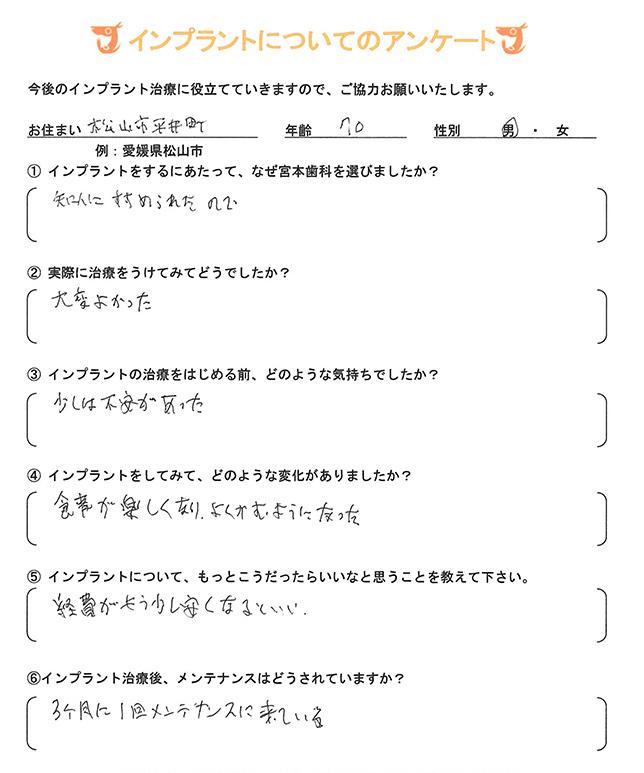 インプラント 体験者アンケート26