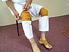 足の二ヶ所巻き(足指巻き、膝巻き)
